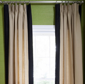 Beige Regency Curtain With Black Border
