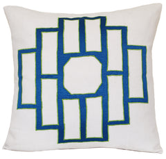 Azure Blue Mark Embroidered Pillow