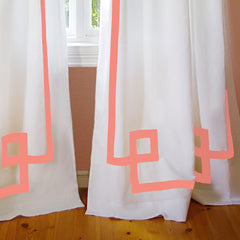 Coral Greek Key Drapery