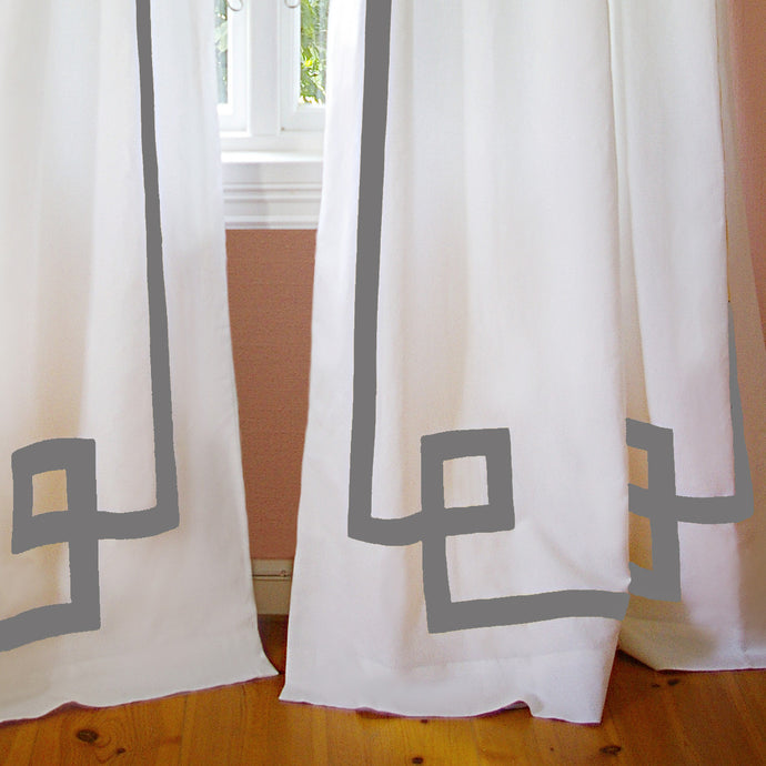 Grey Greek Key Drapery