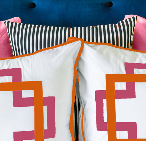 Hot Pink and Orange Takes Two Standard Sham