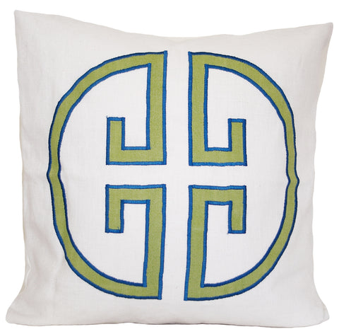 Apple Monogram Embroidered Pillow