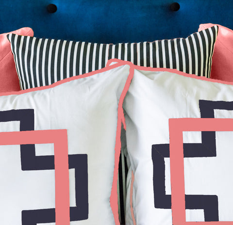 Navy and Coral Takes Two Standard Sham