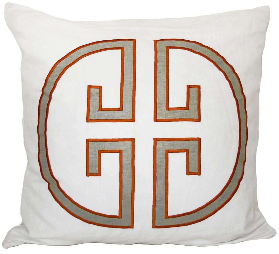 Papaya Monogram Embroidered Pillowcase