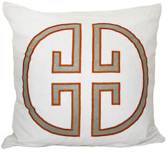 Papaya Monogram Embroidered Pillow