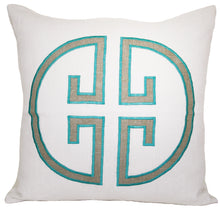 Load image into Gallery viewer, Sea Green Embroidered Monogram Pillow