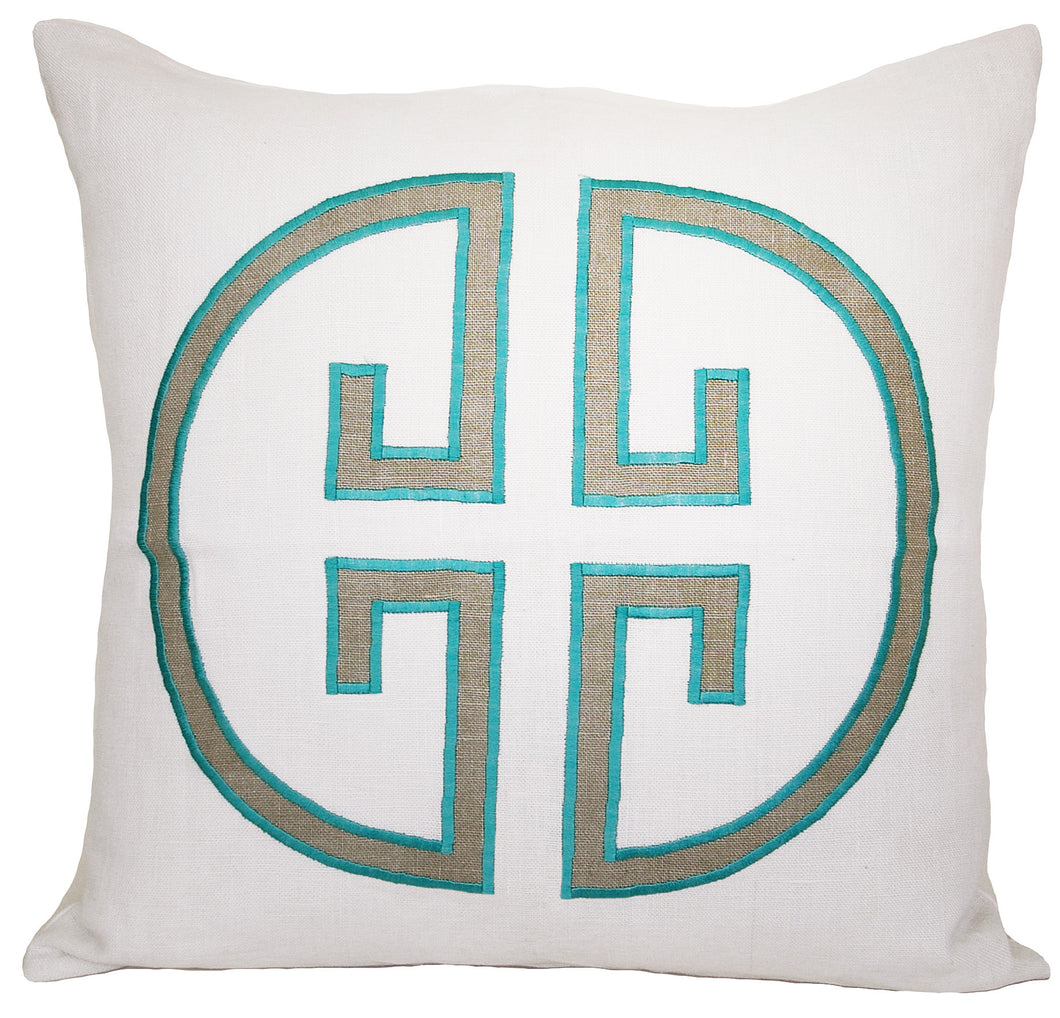 Sea Green Embroidered Monogram Pillow