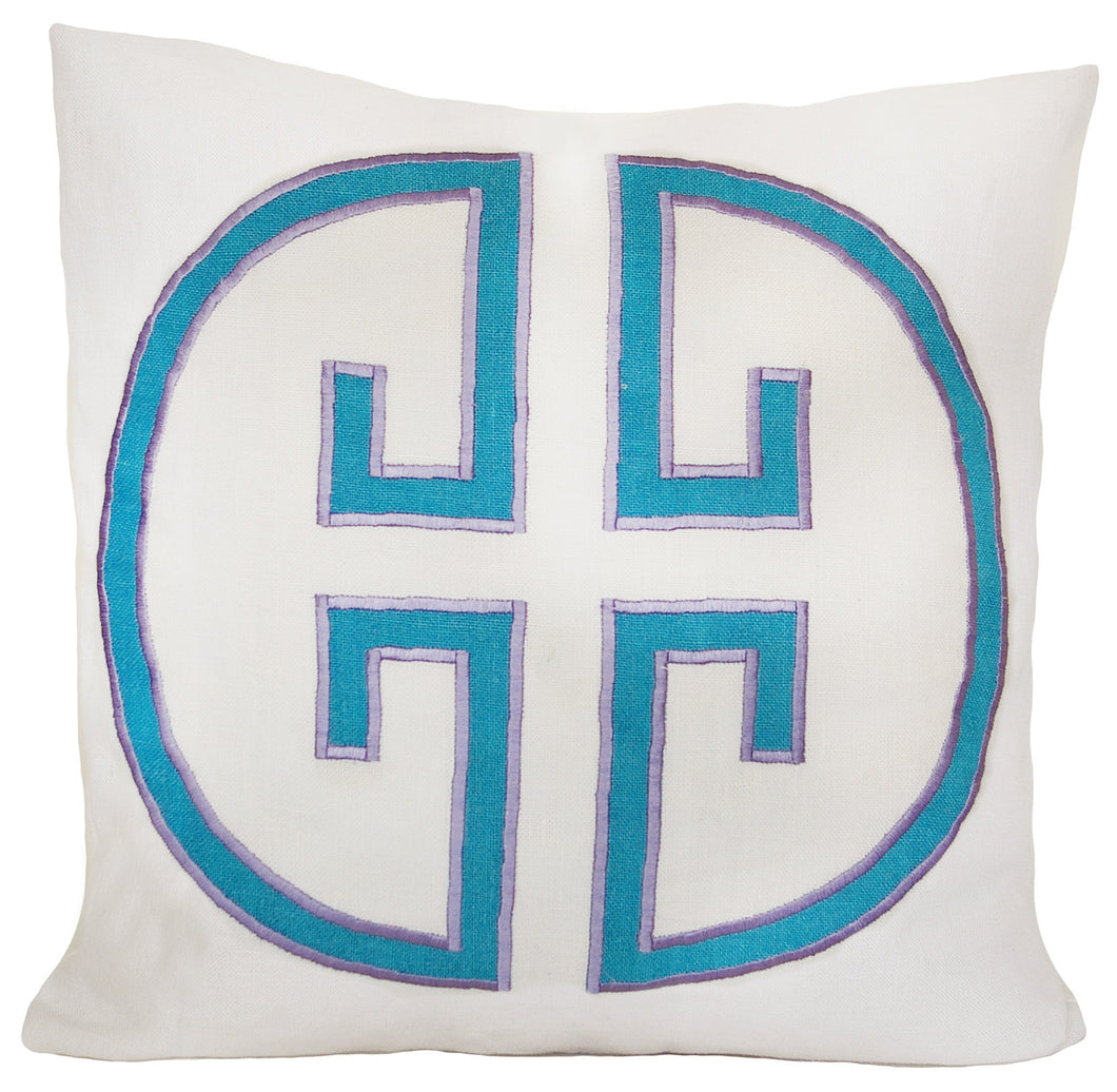 Turquoise Monogram Embroidered Pillow