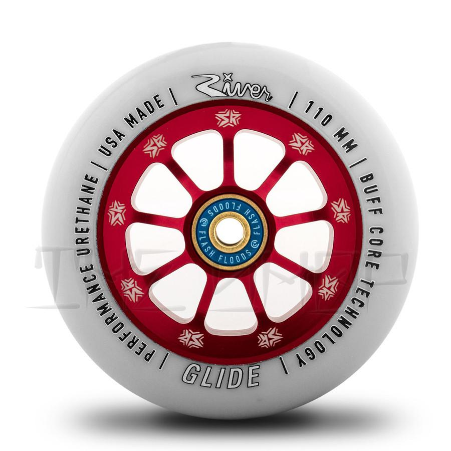 River Wheels / SR Collab Wheel-Glide 110mm (Light Grey On Red) - THE SHOP PRO SCOOTER LAB