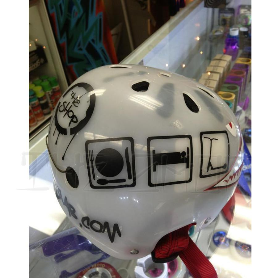 "The Shop Pro Scooter Lab Custom  ""Eat, Sleep, Scoot""  Helmet - THE SHOP PRO SCOOTER LAB"