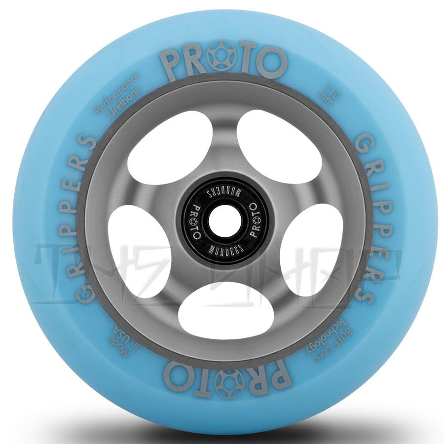 Proto Faded Grippers Pastel Blue on Ghost Grey 110mm Wheels
