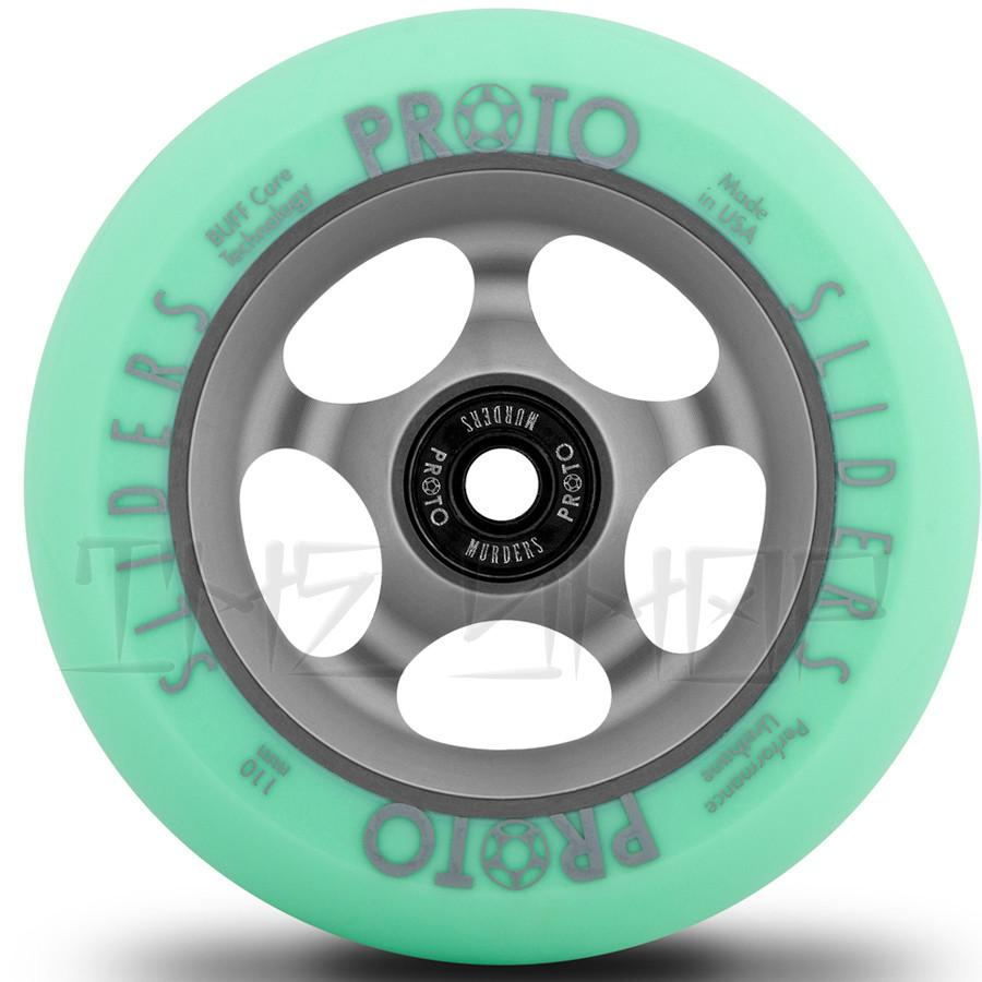 Proto Faded Sliders Pastel Green on Ghost Grey 110mm Wheels
