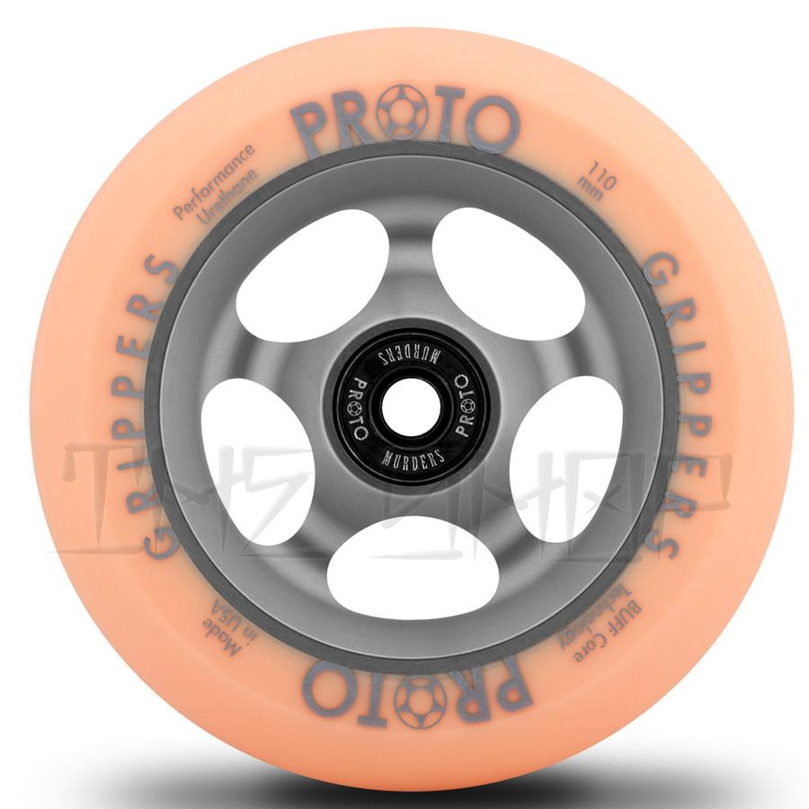Proto Faded Grippers Pastel Orange on Ghost Grey 110mm Wheels