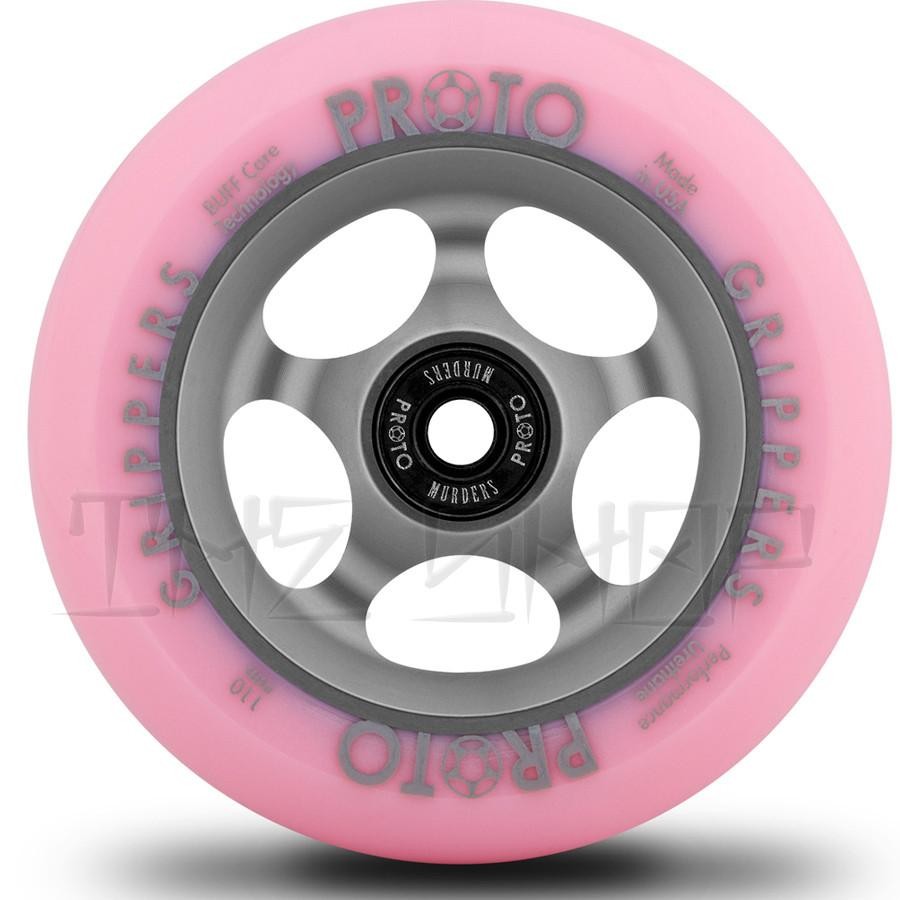 Proto Faded Grippers Pastel Pink on Ghost Grey 110mm Wheels