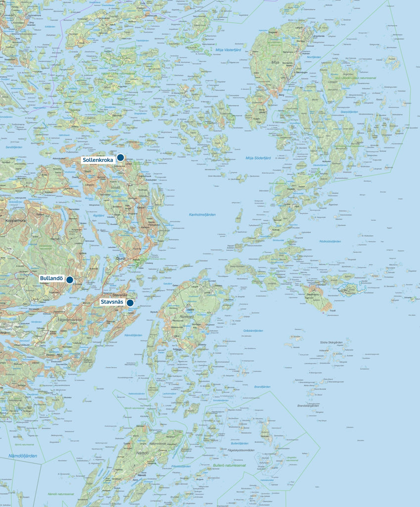 Get Out Kayak map of the locations of our bases in Stockholm archipelago.