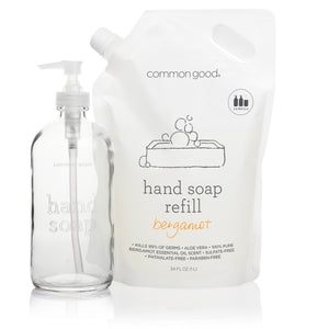 Hand Soap Refill Pouch and Glass Bottle Set