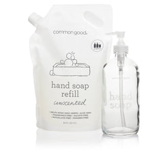 Load image into Gallery viewer, Hand Soap Refill Pouch and Glass Bottle Set