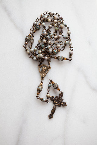 Blue Czech & Crystal Rosary