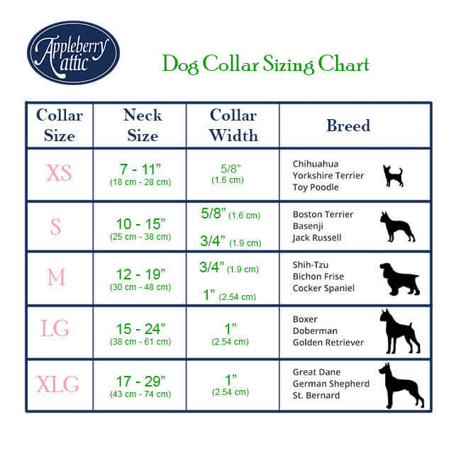 Dog Collars size chart divided by breeds