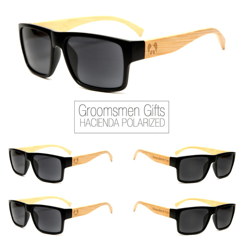 "Bamboo Wood Sunglasses ""Hacienda Black Polarized"" Groomsmen Gift Set"