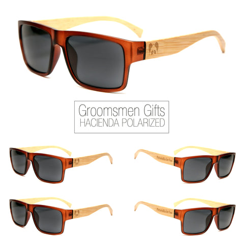"Bamboo Wood Sunglasses ""Hacienda Brown Polarized"" Groomsmen Gift Set"