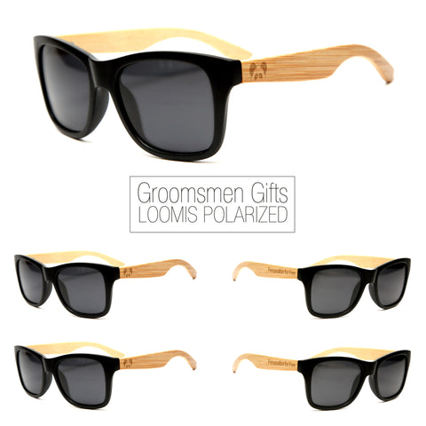 "Bamboo Wood Sunglasses ""Loomis Black Polarized"" Groomsmen Gift Set"