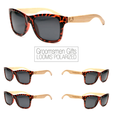 "Bamboo Wood Sunglasses ""Loomis Tortoise Polarized"" Groomsmen Gift Set"