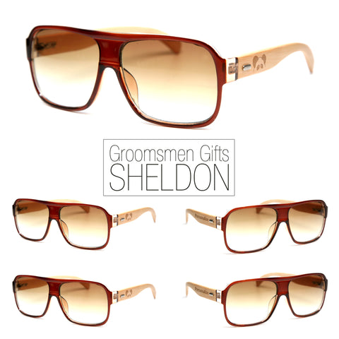 "Bamboo Wood Sunglasses ""Sheldon Brown"" Groomsmen Gift Set"
