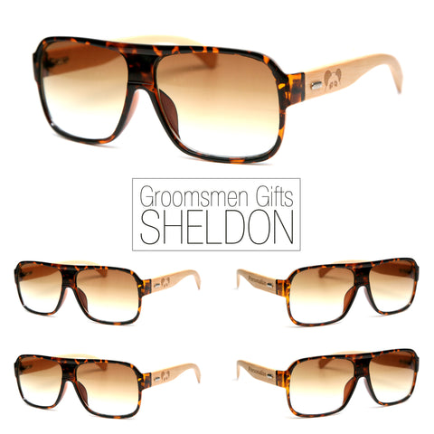 "Bamboo Wood Sunglasses ""Sheldon Tortoise"" Groomsmen Gift Set"