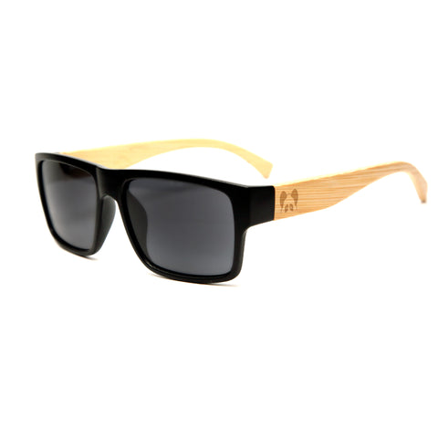 "Bamboo Wood Sunglasses ""Hacienda Black Polarized"""