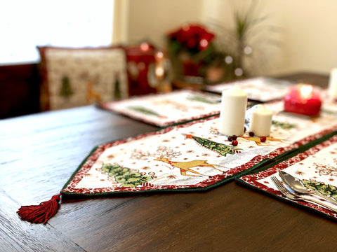 Tache Christmas White Winter Forest Reindeer Vintage Holiday Woven Tapestry Table Runners