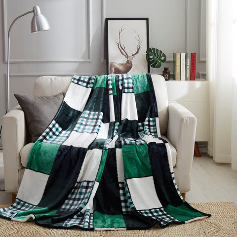 Tache Christmas Forest Green Plaid Patchwork Checkered Flannel Fleece Throw Blanket