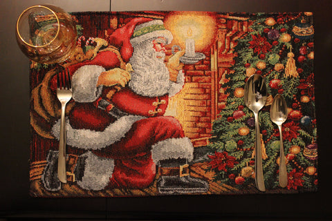 Tache Christmas Festive Santa Claus Festive Down the Chimney Woven Tapestry Placemat Place Table Mat