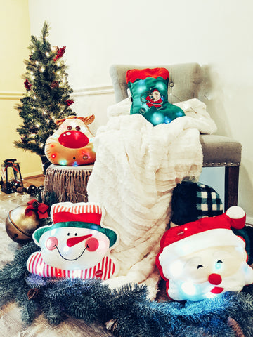 Tache Color Changing Glowing Light Up Christmas Holiday Santa Claus Snowman Reindeer Stocking Plush Pillows Toys