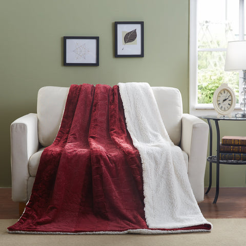 Tache Christmas Solid Embossed Merlot Red Super Soft Warm Sherpa Throw Blanket