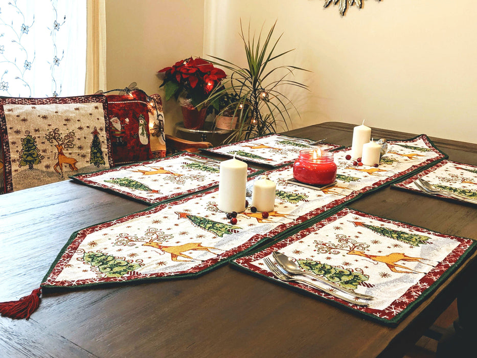 Tache Winter Forest Reindeer Vintage Holiday Woven Tapestry Placemats (9192PM)