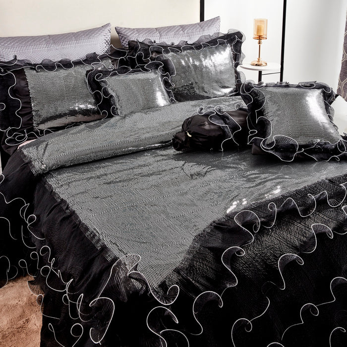 Tache Ruffle Sequin Silver Black Luxurious Night Out Comforter Set (1622)