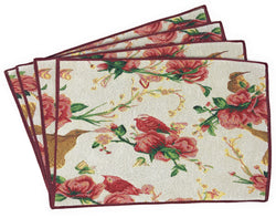 Tache Floral Red Roses Birds Ivory Woven Tapestry Placemat (18109) - Tache Home Fashion