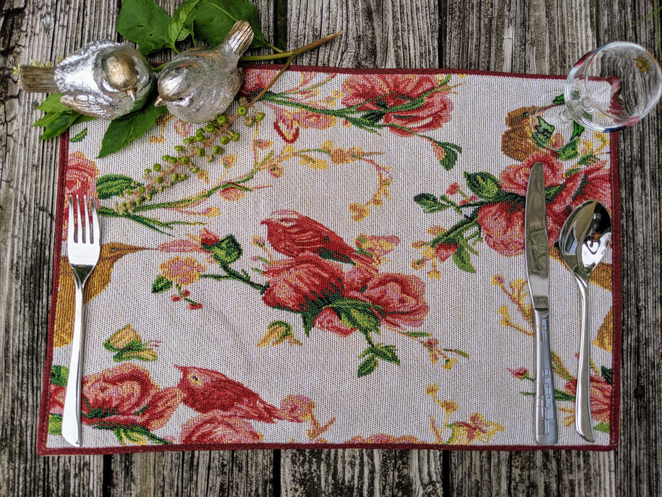 Tache Floral Red Roses Birds Woven Tapestry Placemat Set of 4 (18109) - Tache Home Fashion