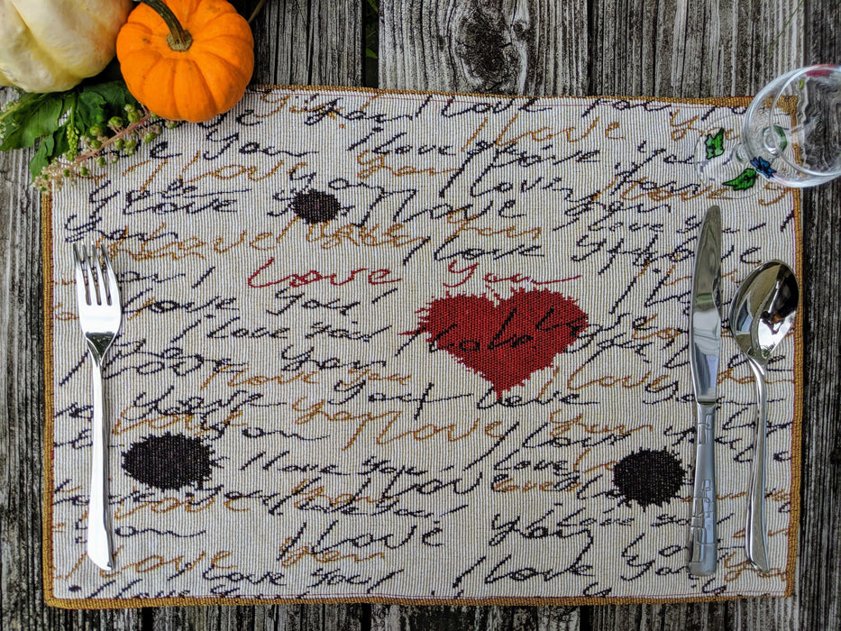 Tache Romantic I Love You Valentine's Beige Woven Tapestry Placemat (18111) - Tache Home Fashion