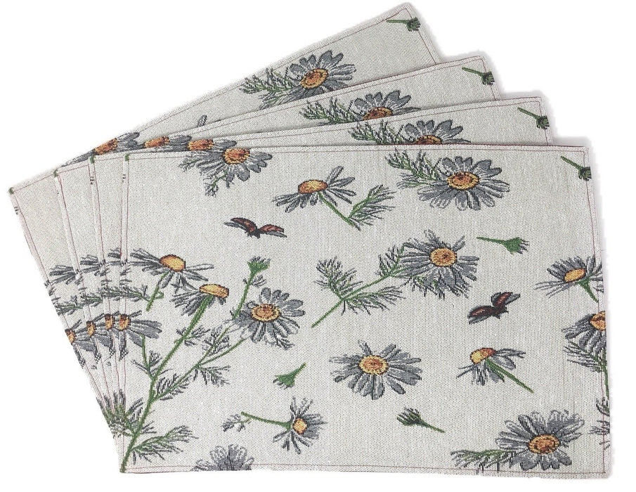 Tache Floral Grey White Yellow Daisies Ladybugs Woven Tapestry Placemats (18114) - Tache Home Fashion