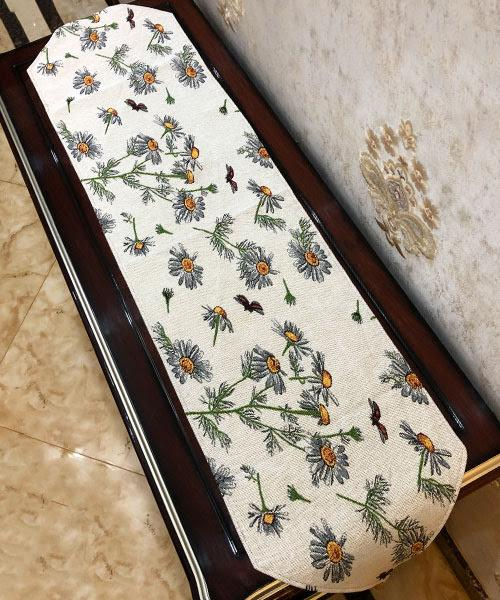 Tache Floral Yellow Daisies Ladybugs Ivory Woven Tapestry Table Runner (18114) - Tache Home Fashion