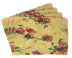 Tache Floral Red Roses Birds Golden Woven Tapestry Placemat (18115) - Tache Home Fashion