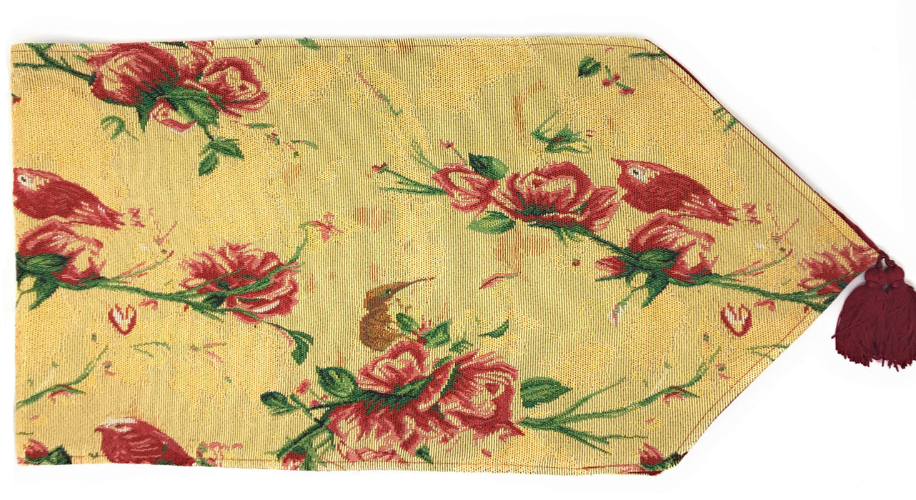 Tache Floral Red Roses Birds Golden Woven Tapestry Table Runner (18115) - Tache Home Fashion