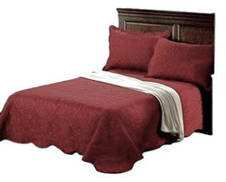Tache Ultrasonic Matelasse Floral Burgundy Maroon Scalloped Autumn Marsala Bedspread Set (BJU018) - Tache Home Fashion
