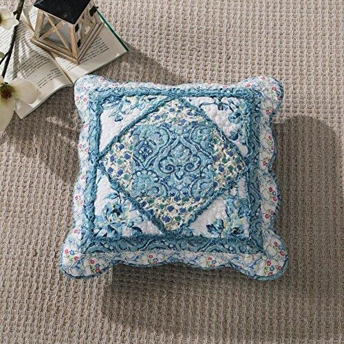 Tache Cotton Patchwork White Blue Floral Scalloped Petal Dance Cushion Cover 2-Pieces (JHW-646) - Tache Home Fashion