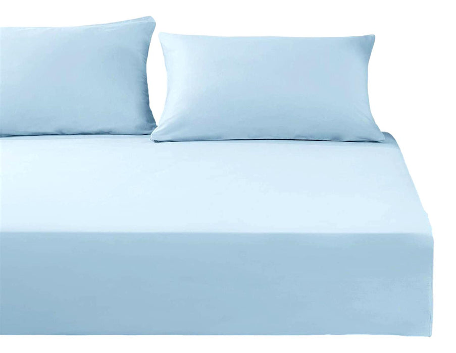 DaDa Bedding Cotton Soothing Light Sky Blue Fitted Sheet (JHW-604)