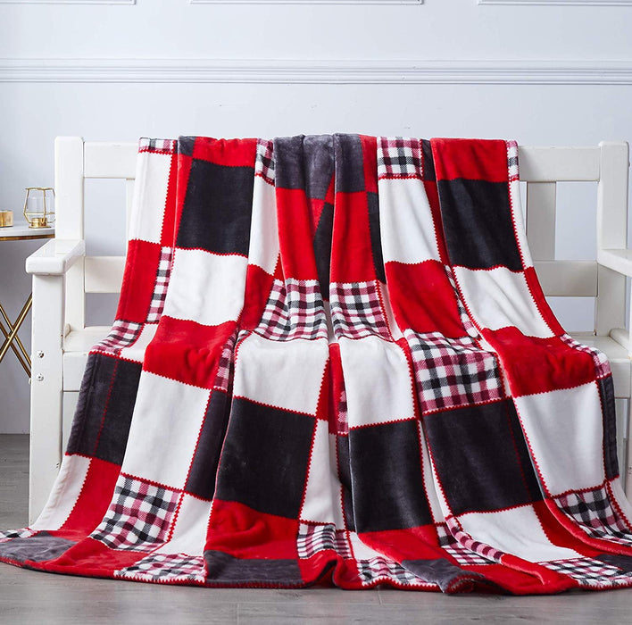 Tache Holiday Red Farmhouse Plaid Patchwork Flannel Throw Blanket (4025) - Tache Home Fashion