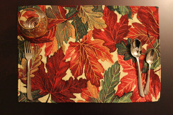 Tache 4 Pc Warm Colorful Thanksgiving Leaves Fall Foliage Tapestry Placemat Set - Tache Home Fashion