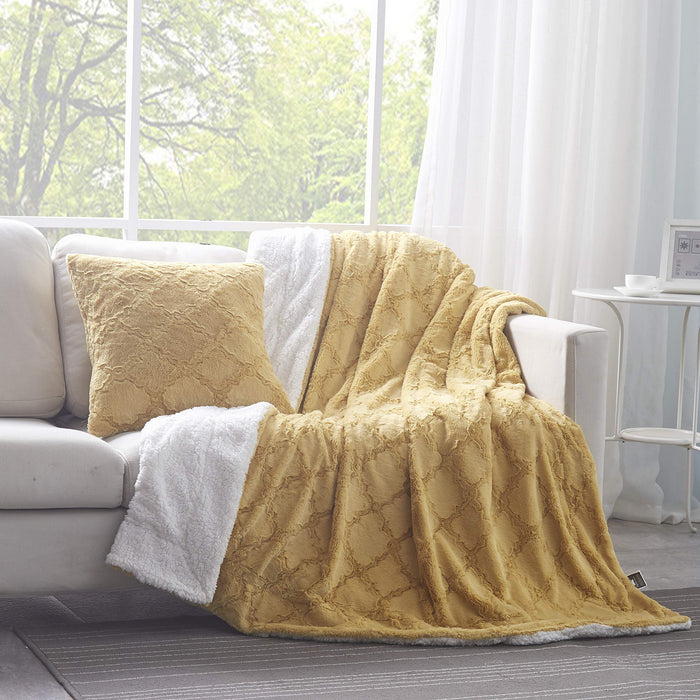 Tache Faux Fur Mustard Yellow Moroccan Lattice Pattern Blanket (3397) - Tache Home Fashion